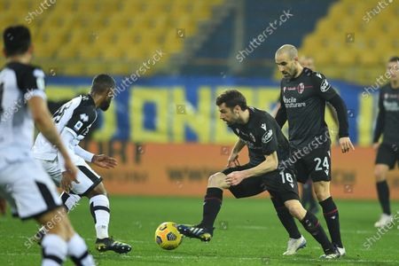 "Andrea Poli (Bologna)Wylan Cyprien (Parma)Rodrigo Sebastian Palacio (Bologna)           during the Italian ""Serie A  match between Parma 0-3 Bologna at  Ennio Tardini Stadium in Parma, Italy."