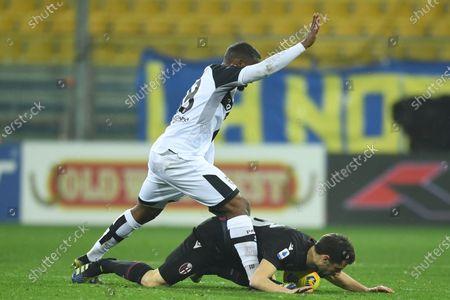 "Andrea Poli (Bologna)Wylan Cyprien (Parma)             during the Italian ""Serie A  match between Parma 0-3 Bologna at  Ennio Tardini Stadium in Parma, Italy."