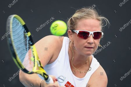 Ysaline Bonaventure of Belgium in action against Timea Babos of Hungary during the women's singles tennis first round match of the Australian Open Grand Slam at Melbourne Park in Melbourne, Australia, 08 February 2021.