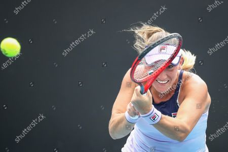 Timea Babos of Hungary in action against Ysaline Bonaventure of Belgium during the women's singles tennis first round match of the Australian Open Grand Slam at Melbourne Park in Melbourne, Australia, 08 February 2021.