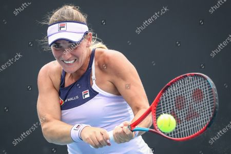 Timea Babos of Hungary in action during the women's singles tennis first round match against Ysaline Bonaventure of Belgium at the Australian Open Grand Slam at Melbourne Park in Melbourne, Australia, 08 February 2021.