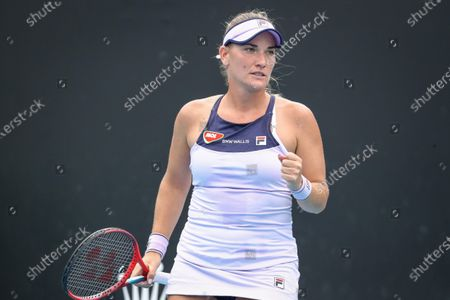 Timea Babos of Hungary reacts during the women's singles tennis first round match against Ysaline Bonaventure of Belgium at the Australian Open Grand Slam at Melbourne Park in Melbourne, Australia, 08 February 2021.