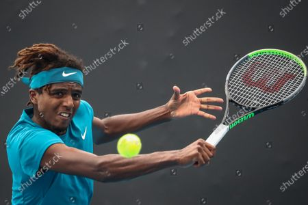 Elias Ymer of Sweden in action against Diego Schwartzman of Argentina during their men's singles tennis first round match of the Australian Open Grand Slam at Melbourne Park in Melbourne, Australia, 08 February 2021.