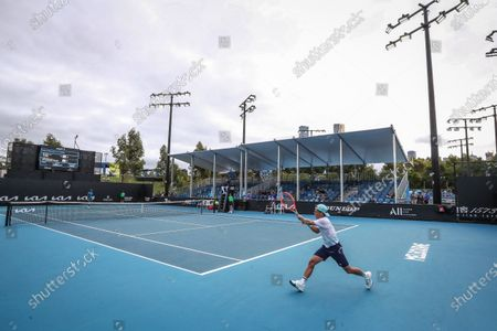 Diego Schwartzman of Argentina in action against Elias Ymer of Sweden during their men's singles tennis first round match of the Australian Open Grand Slam at Melbourne Park in Melbourne, Australia, 08 February 2021.