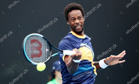 Gael Monfils of France in action against Emil Ruusuvuori of Finland during the men's singles tennis first round match of the Australian Open Grand Slam at Melbourne Park in Melbourne, Australia, 08 February 2021.