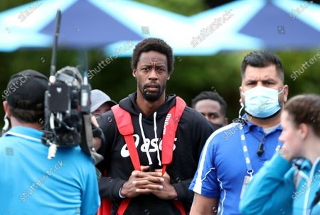 Gael Monfils of France arrives for his first round match against Emil Ruusuvuori of Finland at the Australian Open Grand Slam at Melbourne Park in Melbourne, Australia, 08 February 2021.