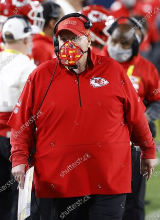 Kansas City Chiefs Head Coach Andy Reid walks on the sidelines in the third quarter of Super Bowl LV at Raymond James Stadium