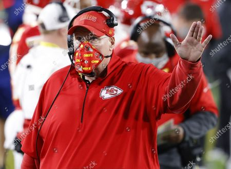 Stock Image of Kansas City Chiefs Head Coach Andy Reid walks on the sidelines in the third quarter of Super Bowl LV at Raymond James Stadium