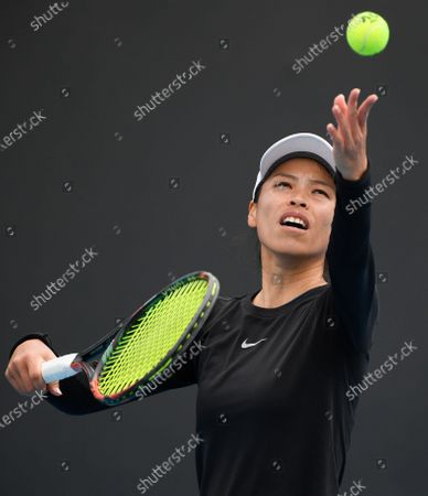Taiwan's Hsieh Su-Wei serves to Bulgaria's Tsvetana Pironkova during their first round match at the Australian Open tennis championship in Melbourne, Australia