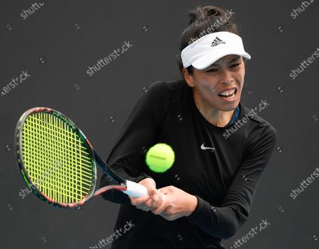 Stock Picture of Taiwan's Hsieh Su-Wei makes a forehand return to Bulgaria's Tsvetana Pironkova during their first round match at the Australian Open tennis championship in Melbourne, Australia