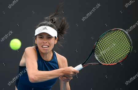 Taiwan's Hsieh Su-Wei makes a forehand return to Bulgaria's Tsvetana Pironkova during their first round match at the Australian Open tennis championship in Melbourne, Australia