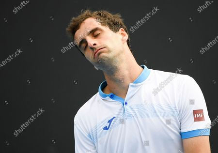 Spain's Albert Ramos-Vinolas reacts during his first round loss to United States' Taylor Fritz at the Australian Open tennis championship in Melbourne, Australia
