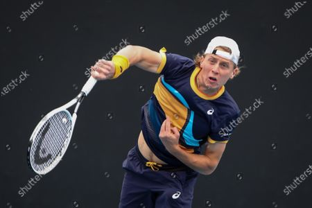 Emil Ruusuvuori of Finland in action during the men's singles tennis match against Gael Monfils of France on Day 1 of the Australian Open Grand Slam at Melbourne Park in Melbourne, Australia, 08 February 2021.