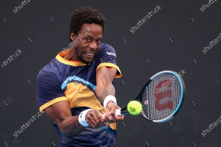 Gael Monfils of France in action against Emil Ruusuvuori of Finland during the men's singles tennis match on Day 1 of the Australian Open Grand Slam at Melbourne Park in Melbourne, Australia, 08 February 2021.