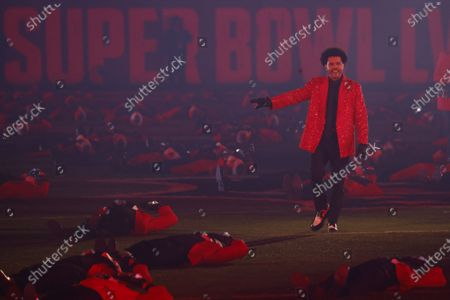Canadian artist The Weeknd performs during half time at Super Bowl LV at Raymond James Stadium