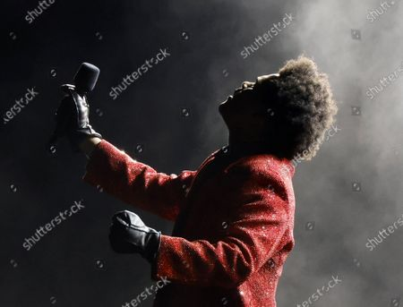 The Weeknd performs at Super Bowl LV at Raymond James Stadium in Tampa, Florida on Sunday, February 7, 2021.