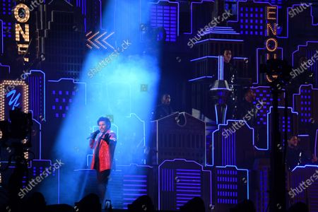 Canadian artist The Weeknd performs during the Super Bowl LV halftime show at Raymond James Stadium