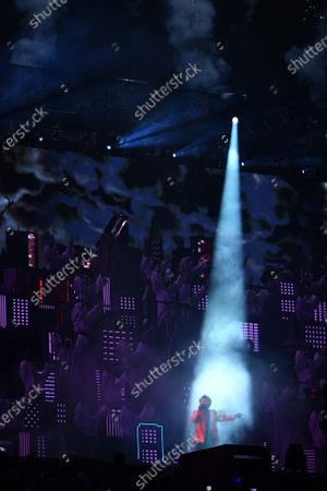 Stock Picture of Canadian artist The Weeknd performs during the Super Bowl LV halftime show at Raymond James Stadium