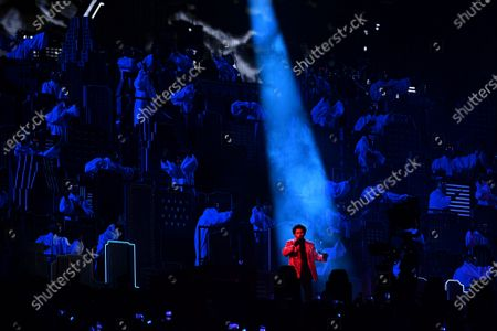 Stock Image of The Weeknd performs during the half time show at Super Bowl LV at Raymond James Stadium in Tampa, Florida on Sunday, February 7, 2021. The Tampa Buccaneers defeated the Kansas City Chiefs 31-9 to win Super Bowl 55
