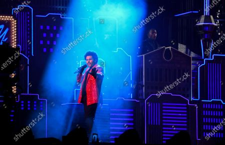 The Weeknd performs during the half time show at Super Bowl LV at Raymond James Stadium in Tampa, Florida on Sunday, February 7, 2021. The Tampa Buccaneers defeated the Kansas City Chiefs 31-9 to win Super Bowl 55