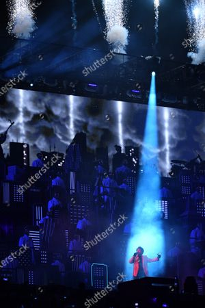 Stock Photo of Canadian artist The Weeknd performs during the Super Bowl LV halftime show at Raymond James Stadium in Tampa, Florida on Sunday, February 7, 2021.