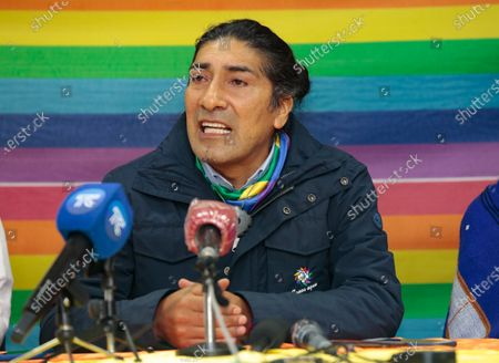 Presidential candidate Yaku Perez speaks during a news conference after the first electoral results in Quito, Ecuador, 07 February 2021. Polls closed on 07 February after 13.1 million people voted to choose a successor to President Lenin Moreno.