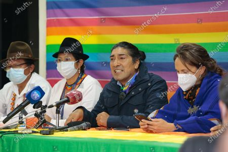 Presidential candidate Yaku Perez (2-R) speaks during a news conference after the first electoral results in Quito, Ecuador, 07 February 2021. Polls closed on 07 February after 13.1 million people voted to choose a successor to President Lenin Moreno.