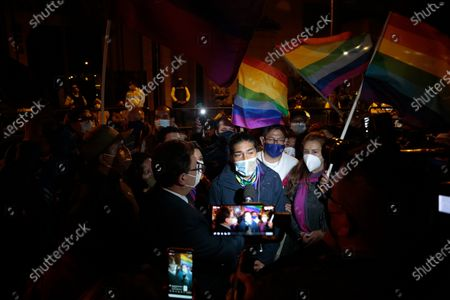 Presidential candidate Yaku Perez speaks outside of a hotel after the first electoral results in Quito, Ecuador, 07 February 2021. Polls closed on 07 February after 13.1 million people voted to choose a successor to President Lenin Moreno.