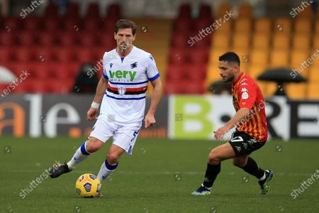 Adrien Silva (Sampdoria) in action during the Serie A match between Benevento Calcio and UC Sampdoria at Stadio Comunale Ciro Vigorito on February 07, 2021 in Benevento, Italy.