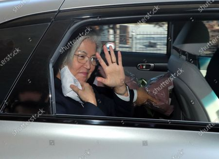 Outgoing Foreign Minister Kang Kyung-wha waves after attending a ceremony to mark her departure from the post at the government complex in Seoul, South Korea, 08 February 2021.