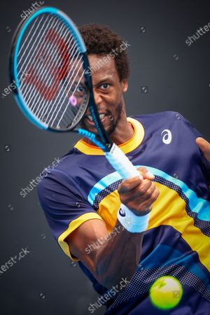 Gael Monfils (ATP 11) pictured during a tennis match between French Monfils and Finnish Ruusuvuori, in the first round of the men's singles competition of the 'Australian Open' tennis Grand Slam, Monday 08 February 2021 in Melbourne Park, Melbourne, Australia. The 2021 edition of the Australian Grand Slam has been delayed by three weeks because of the ongoing pandemy.