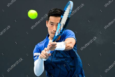 Yuichi Sugita of Japan in action during his first Round Men's singles match against Bernard Tomic of Australia on Day 1 of the Australian Open Grand Slam tennis tournament at Melbourne Park in Melbourne, Australia, 08 February 2021.