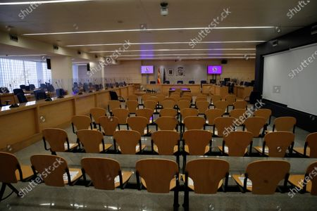 A general view of the room at Spanish National Court in San Fernando de Henares, Madrid, central Spain, 08 February 2021, moments before the start of the first session of a trial over the Partido Popular (PP) alleged illegal funding. Former treasurer of Spain's Popular Party (PP) Luis Barcenas, the main accused party, the previous week sent prosecutors a letter expressing his 'desire to cooperate with the justice system'. These Barcena's new revelations could affect the outcome of the trial starting on 08 February, probing an alleged illegal funding system run by the conservative group since 1982. Jose Maria Aznar and Mariano Rajoy, two former prime ministers who served at the time when the PP was allegedly running this parallel accounting system, will appear in court as witnesses.