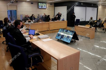 A general view of the room at Spanish National Court in San Fernando de Henares, Madrid, central Spain, 08 February 2021, during the first session of a trial over the Partido Popular (PP) alleged illegal funding. Former treasurer of Spain's Popular Party (PP) Luis Barcenas (R), the main accused party, the previous week sent prosecutors a letter expressing his 'desire to cooperate with the justice system'. These Barcena's new revelations could affect the outcome of the trial starting on 08 February, probing an alleged illegal funding system run by the conservative group since 1982. Jose Maria Aznar and Mariano Rajoy, two former prime ministers who served at the time when the PP was allegedly running this parallel accounting system, will appear in court as witnesses.