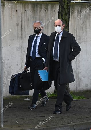 Stock Picture of Defence lawer of Spain's Popular Party (PP), Luis Santos (L), arrives for the first session of a trial over the Partido Popular (PP) alleged illegal funding. PP's former treasurer Luis Barcenas, the main defendant, the previous week sent prosecutors a letter expressing his 'desire to cooperate with the justice system'. These Barcena's new revelations could affect the outcome of the trial starting on 08 February, probing an alleged illegal funding system run by the conservative group since 1982. Jose Maria Aznar and Mariano Rajoy, two former prime ministers who served at the time when the PP was allegedly running this parallel accounting system, will appear in court as witnesses.