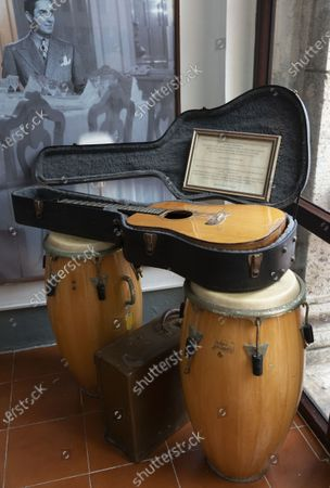 Stock Picture of Hotel National de Cuba,Havana: guitar donated to the hotel by the English rock star Peter Frampton who played a concert in Havana in 1998