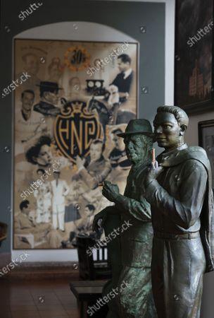 Stock Image of Hotel National de Cuba,Havana: statue of Nat King Cole with the Cuban musician 'Compay Segundo' Maximo Repilado Telles