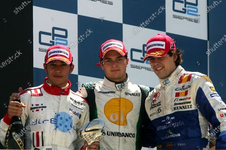 Stock Image of Lewis Hamilton (GBR) ART, Nelson Angelo Piquet (BRA) Hi-Tech Piquet Sports and Adrian Valles (ESP) Campos Racing 