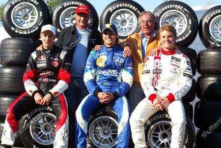 Stock Picture of (L to R): Mathias Lauda (AUT) Colon; Niki Lauda (AUT); Nelson Angelo Piquet (BRA) Hi-Tech Piquet Sports; Keke Rosberg (FIN); Nico Rosberg (GER) ART.GP2, Rd 1, San Marino Grand Prix, Imola, Italy, 22 April 2005.DIGITAL IMAGE