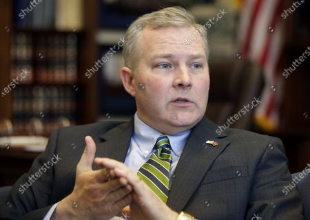 Arkansas Lt. Gov. Tim Griffin is interviewed in his office at the Arkansas state Capitol in Little Rock, Ark. Griffin has dropped out of the race for governor and is now running for attorney general. Griffin announced the move, two weeks after former White House Press Secretary Sarah Sanders said she was seeking the GOP nomination for governor