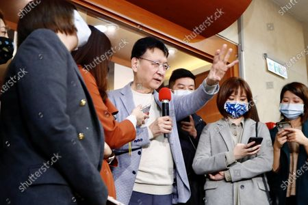 """Stock Image of Chao Shao Kang declares his intention to run for 2024 presidential election during a press conference in Taipei. Setting out """"Make Taiwan Great Again"""" as his prototypical campaign slogan, Chao says he will spare no efforts to be part in the primary election. - Daniel Tsang / SOPA Images -"""
