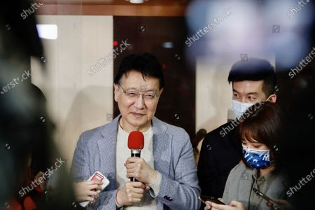 """Chao Shao Kang declares his intention to run for 2024 presidential election during a press conference in Taipei. Setting out """"Make Taiwan Great Again"""" as his prototypical campaign slogan, Chao says he will spare no efforts to be part in the primary election. - Daniel Tsang / SOPA Images -"""