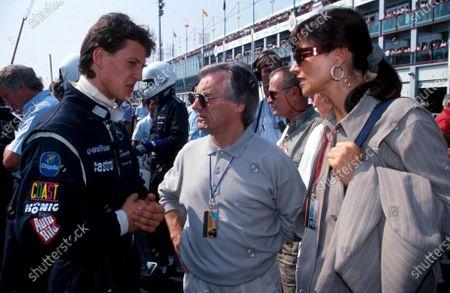 Michael Schumacher (GER) Mercedes (left) meets F1 supremo Bernie Ecclestone (centre).Sportscar World Championship, Magny-Cours, France, 15 September 1991.