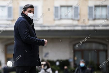 Carlo Calenda arrives at the Chamber of Deputies for a meeting with Italian designated-prime minister Mario Draghi, in Rome, Italy, 08 February 2021.