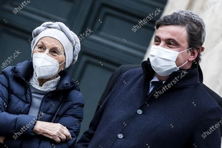 Emma Bonino and Carlo Calenda leave the Chamber of Deputies after meeting with Italian designated-prime minister Mario Draghi, in Rome, Italy, 08 February 2021.
