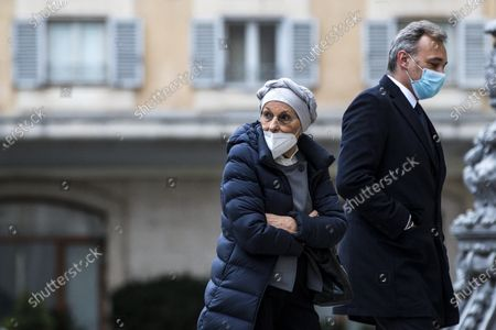 Emma Bonino and Andrea Richetti arrive at the Chamber of Deputies for a  meeting with Italian designated-prime minister Mario Draghi, in Rome, Italy, 08 February 2021.
