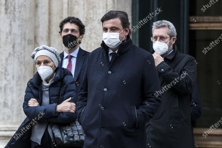 Emma Bonino, Riccardo Magi, Carlo Calenda and Benedetto Della Vedova leave the Chamber of Deputies after meeting with Italian designated-prime minister Mario Draghi, in Rome, Italy, 08 February 2021.