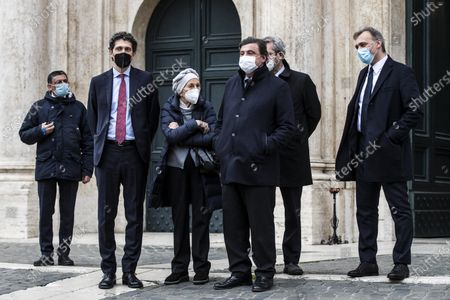 Riccardo Magi, Emma Bonino, Carlo Calenda, Benedetto Della Vedova and Matteo Righetti leave the Chamber of Deputies after meeting with Italian designated-prime minister Mario Draghi, in Rome, Italy, 08 February 2021.