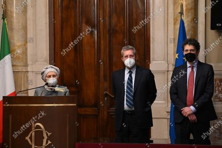(L-R) Emma Bonino, Benedetto Della Vedova, Riccardo Magi of Azione, + Europa, Radicali italiani, released a statement to the press after meeting Mario Draghi during the second round of consultations at the Chamber, Rome, Italy, 08 February 2021.