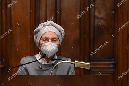 Emma Bonino, of + Europa, releases a statement to the press after meeting Mario Draghi during the second round of consultations at the Chamber, Rome, Italy, 08 February 2021.